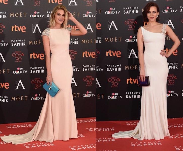 0bd7867513 Amaia Salamanca y Aurora Garrido luciendo sendas creaciones de la firma  Pronovias en la 30ª edición de los premios Goya.
